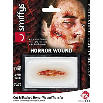 Horror wound transfer, cut and slashed wound