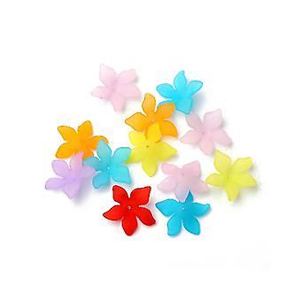Pakke 50 + blandet Lucite 27 x 29mm blomst perler HA25290