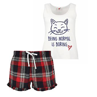 Cat Being Normal Is Boring Ladies Tartan Frill Short Pyjama Set Red Blue or Green Blue