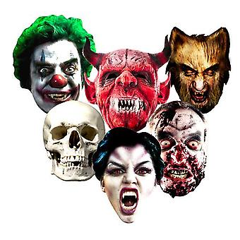 Halloween Card Face Masks Set of 6 (Evil Clown, Skull, Vampire, Zombie, Werewolf and The Devil)