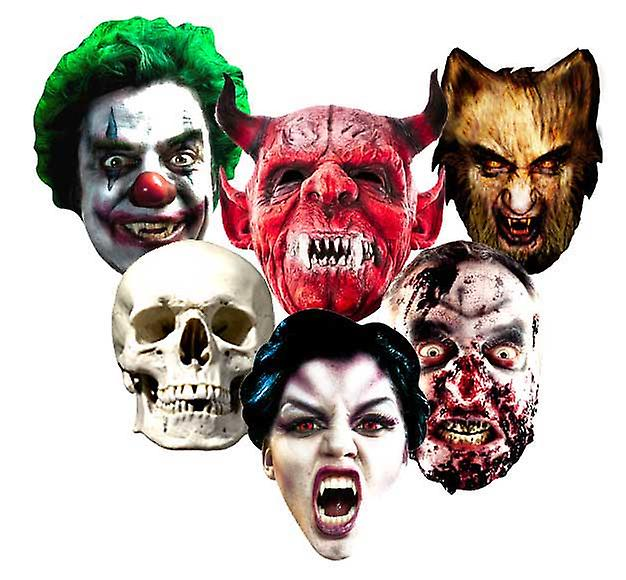 De Kaart van Halloween Maskers Set van 6 (Evil Clown, Skull, Vampire, Zombie, Weerwolf en The Devil)