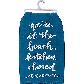 We're At the Beach Kitchen Closed Blue Kitchen Dish Towel Cotton