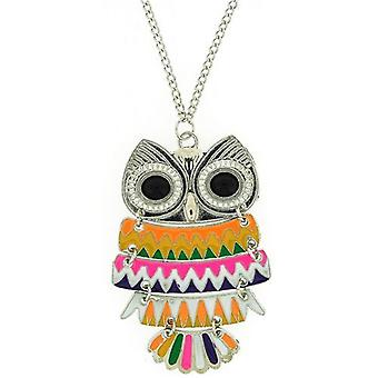 TOC Multicolour Large Moveable Owl Pendant Necklace 28