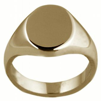 9ct Gold 13x10mm solid plain oval Signet Ring Size I