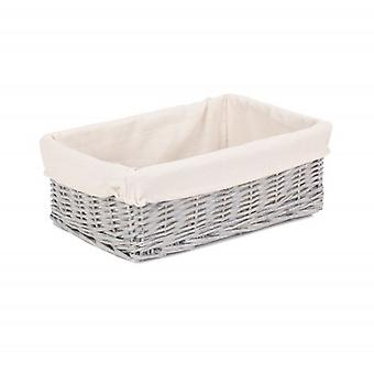 Extra Large Grey Wash Wicker Tray With Lining