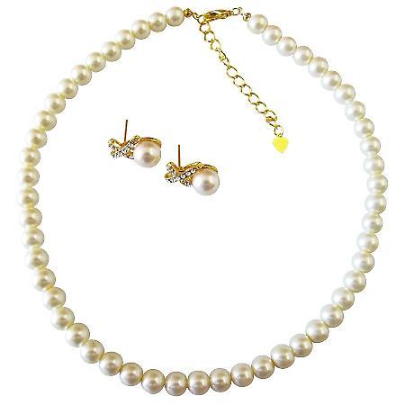 Cream Pearls Gold Chain Wedding Jewelry Gold Rhinestone Earrings