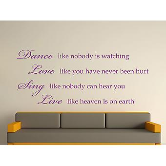 Dance Like Nobody Is Watching Wall Art Sticker - Purple