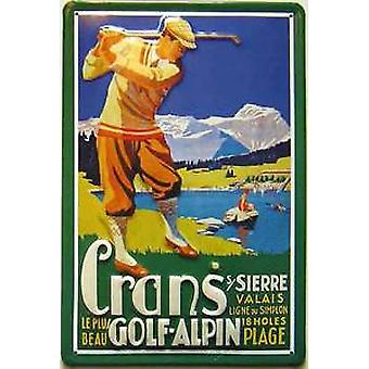 Golf Alpin embossed steel sign