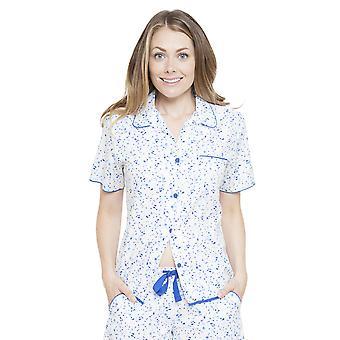Cyberjammies 4132 Women's Mia White Spotted Pyjama Top