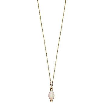 Elements Gold Diamond and Opal Pendant - Yellow Gold