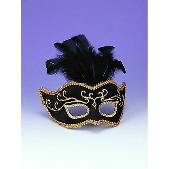 Half Style Mask Bk W Gold Trim V