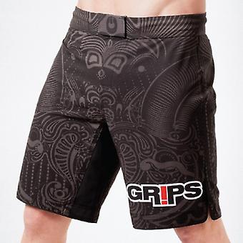 Grips Athletics Mens Warriors Instinct Fight Shorts - Black