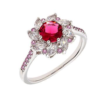 Bertha Juliet Collection Women's 18k WG Plated Red Flower Fashion Ring Size 6