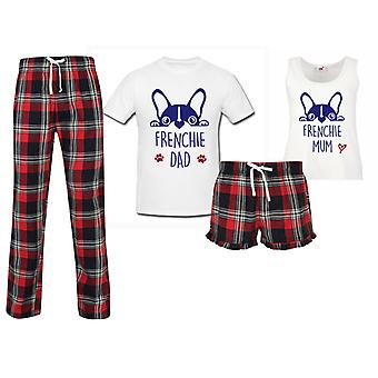 Frenchie mor Frenchie far par matchende pyjamas Tartan sæt
