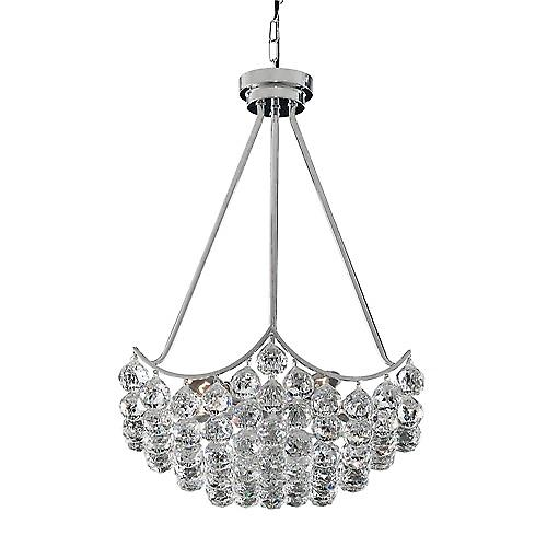 Searchlight 7555-5CC Sassari Chrome 5 Light Pendant With Crystal Ball Basket
