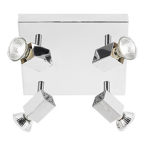 Endon EL-10047 Square 4 Light Chrome Plated Spotlight C/W 4 X Gu10 Lamp