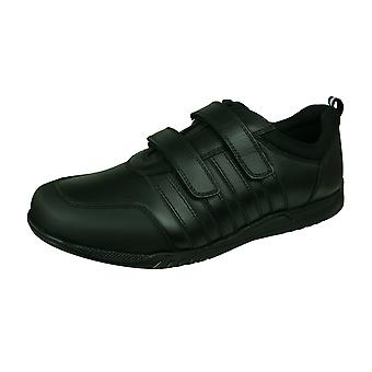 Hush szczenięta Josh Jnr Boys skórzane buty szkolne-czarny