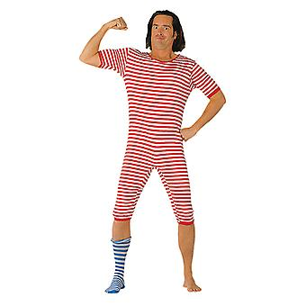 Swimsuit yarn dyed red/white stripe suit anno costume for men