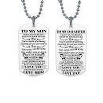 'to my son' and 'to my daughter' dog tags necklace
