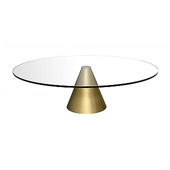 Gillmore Space Round Clear Glass Coffee Table With Conical Brass Base