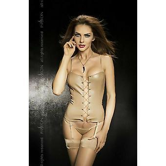 Passion Lingerie Faro BEIGE Faux Leather Suspender Corset & Thong