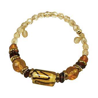 Eternal Collection Capri Amber And Gold Venetian Murano Glass Bracelet
