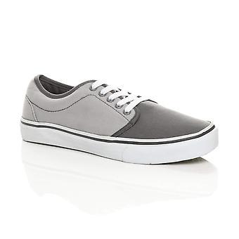 Ajvani Mens canvas lace up pumps plimsolls trainers sneakers skate shoes