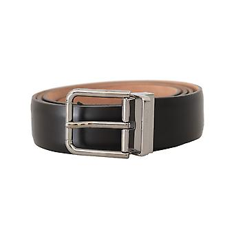 Dolce & Gabbana Solid Brown Leather Silver Buckle Mens Belt -- BEL5217776