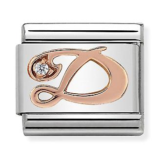Nomination Classic Letter D Steel, CZ and 9k Rose Gold Link Charm 430310/04