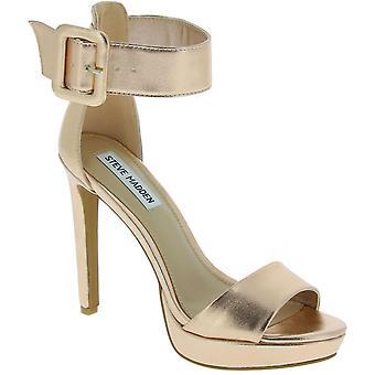 Steve Madden Women's piattaforma cinturino alla caviglia sandali tacchi in pelle finta oro finto