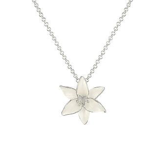 Eternal Collection Lily White Enamel Silver Tone Flower Pendant