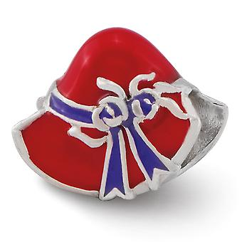 925 Sterling Silver Enamel Polished Reflections Red Hat Society Bead Charm