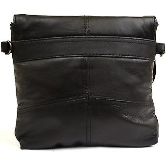 Ladies / Womens Super Soft Leather Shoulder / Cross Body Bag / Purse with Detachable Strap (Black)
