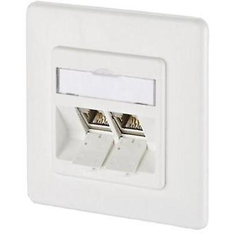 Network outlet Flush mount Insert with main panel and frame 2 ports Metz Connect 1309121002-E Pure white