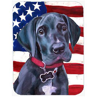 Black Great Dane Puppy USA Patriotic American Flag Mouse Pad, Hot Pad or Trivet LH9544MP