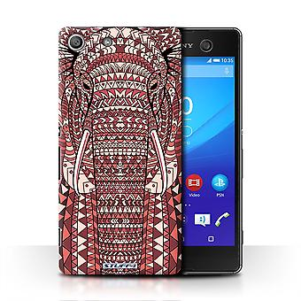 STUFF4 Case/Cover for Sony Xperia M5/Elephant-Red/Aztec Animal