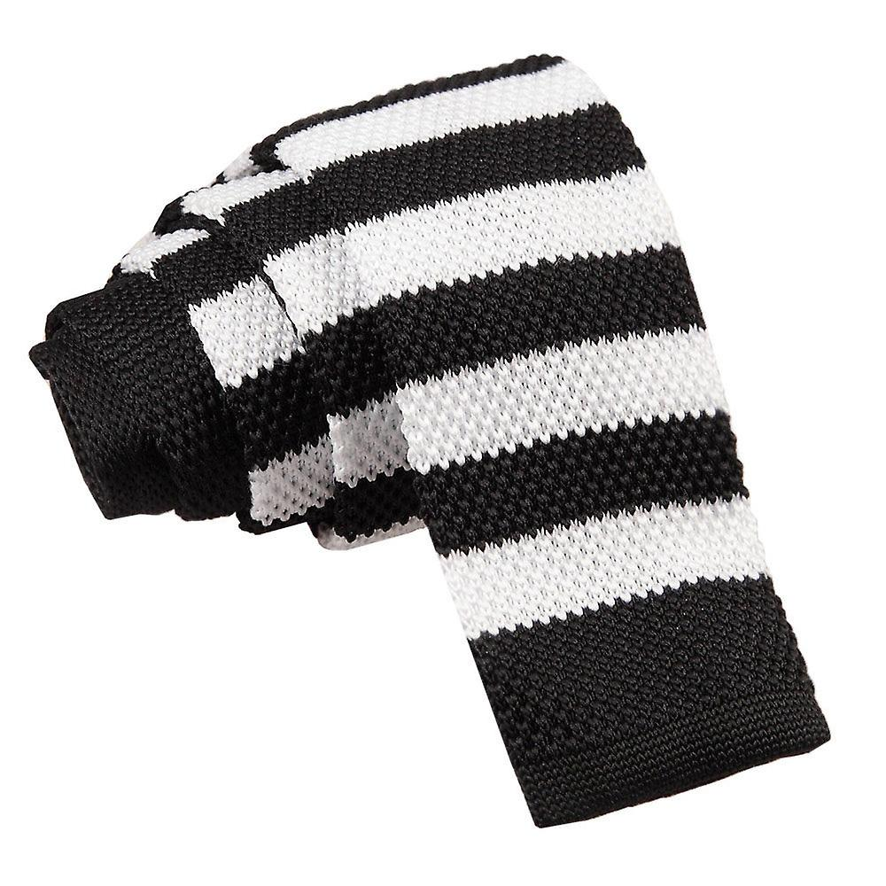 Knitted Black & White Striped Tie