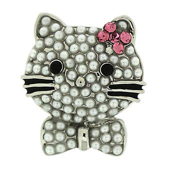 Broches winkel kleine vrij parel parel Kitty Pussy Cat met Bow broche