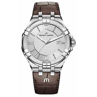 Maurice Lacroix Mens Aikon Brown Leather bracelet cadran argent AI1008-SS001-130-1 montre