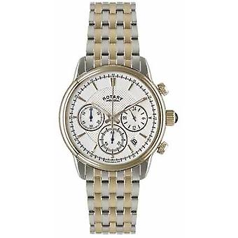 Rotary Mens Two Tone White Dial Bracelet GB02877/06 Watch