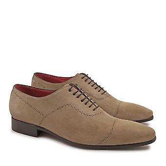 Handmade men's brogues shoes in fossil suede leather