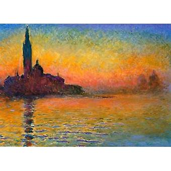 Twilight Venezia plakatutskrift av Claude Monet