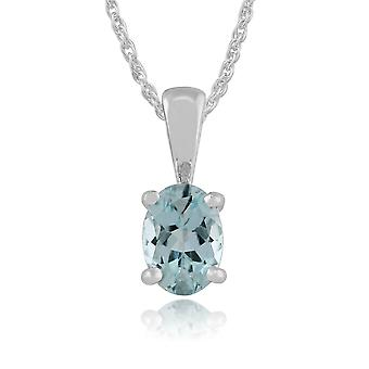 9ct White Gold 0.60ct 4 Claw Set Aquamarine Classic Oval Pendant on Chain