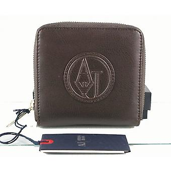 Armani AJ Jeans Ladies Dark Brown Real Leather Wallet Purse 8 Card Coin Pocket