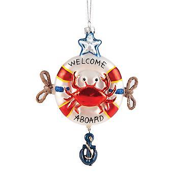 Røde krabber i et liv Saver velkommen ombord på ferie glas 6 tommer kystnære Ornament
