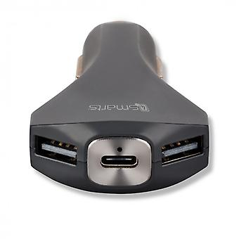 4smarts quick ChargeKFZ auto quick charger with USB type A & type C Black
