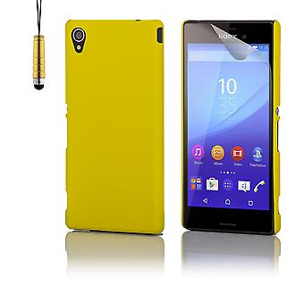 Hard shell case + stylus for Sony Xperia M4 Aqua - Yellow