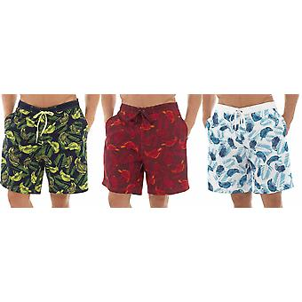 3PK Tom Franks Safari Print verano playa piscina Swim Shorts con forro de malla