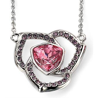 925 Silver Swarovski Crystal Rose And Plated Rhodium Necklace