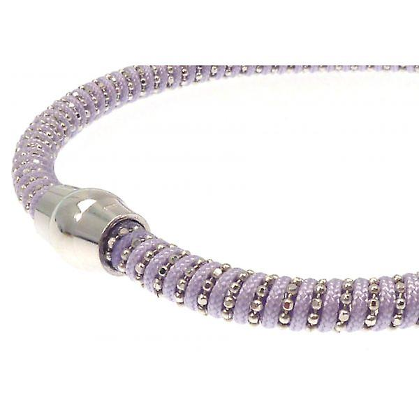 W.A.T Sterling Zilver Lila snoer Sparkle magneet armband
